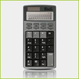 Teclado numérico con calculadora solar